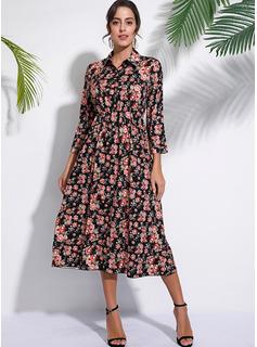 Midi Cuello de camisa Algodón Impresión Mangas Largas Vestidos de moda