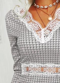 Lace Plaid Bodycon Long Sleeves Mini Elegant Dresses