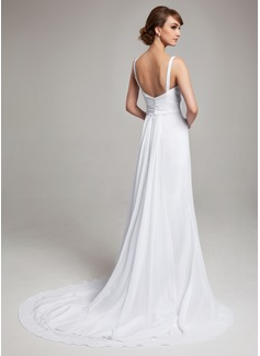 Sheath/Column V-neck Court Train Chiffon Wedding Dress With Ruffle Beading