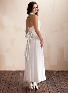A-Line/Principessa A bikini Alle caviglie Chiffona Abiti da sposa con Increspature Fiocco/Fiocchi