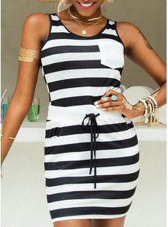 Above Knee Strap Polyester/Cotton Print Sleeveless Fashion Dresses