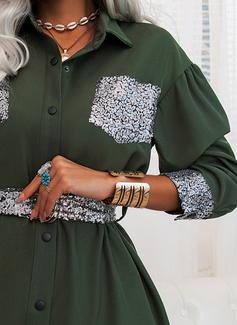 pailletter Skede Lange ærmer Mini Casual Skjorte Mode kjoler