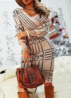 Print Bodycon Long Sleeves Midi Elegant Pencil Dresses
