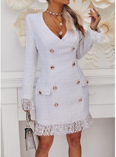 Solid Bodycon Long Sleeves Mini Elegant Dresses