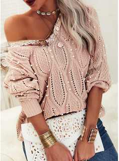 V-Neck Casual Beaded Sequins Solid Cable-knit Sweaters