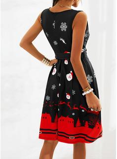 Print Kjole med A-linje Ærmeløs Midi Party Jul skater Mode kjoler