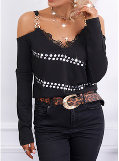Solid Cold Shoulder Long Sleeves Casual