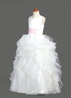 Balo Elbisesi Uzun Etekli Çiçek Kız Elbise - Organza/Saten Kolsuz Yuvarlak Yaka Ile Büzgü/Kuşaklar