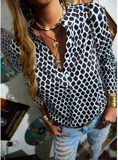 Stampa Scollatura a V Maniche lunghe Bottone Casuale Shirt and Blouses