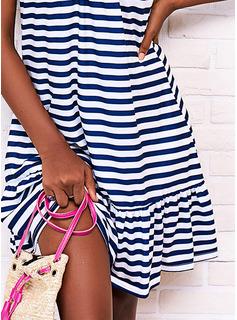 Impresión raya Vestidos sueltos Sin mangas Midi Casual Tipo Vestidos de moda