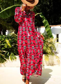 Druck Etuikleider 1/2 Ärmel Maxi Lässige Kleidung Modekleider