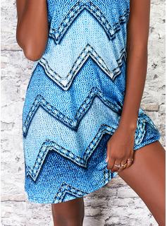 印刷 シフトドレス ノースリーブ ミニ カジュアル ファッションドレス