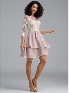 A-Line Scoop Neck Short/Mini Stretch Crepe Homecoming Dress With Cascading Ruffles