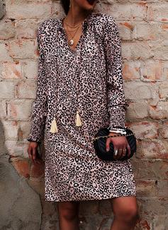 Leopard Shift Lantern Sleeve Long Sleeves Mini Casual Vacation Tunic Dresses