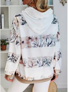 Color Block Floral Print Long Sleeves Hoodie
