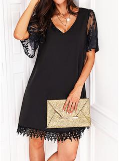 Sólido Vestidos sueltos Mangas 1/2 Mini Pequeños Negros Casual Vestidos de moda