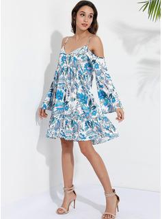 knælange Spaghetti Polyester Print Lange ærmer/flare Sleeves/Kold-skulder ærmer Mode kjoler