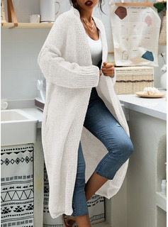Casual Long Solid Chunky knit Sweaters
