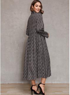 Algodón con Impresión Midi Vestido