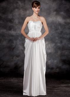 Empire Sweetheart Floor-Length Charmeuse Maternity Bridesmaid Dress With Ruffle