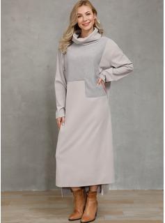 Maxi Dekolt Woda Poliester Jednolity Długie rękawy Modne Suknie