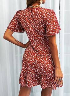 Floral Impresión Vestido línea A Manga Corta Mini Casual Vestidos de moda