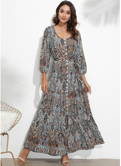 Maxi V neck Polyester Print 3/4 Sleeves Fashion Dresses
