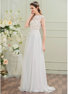 A-Line/Princess Scoop Neck Sweep Train Chiffon Wedding Dress With Bow(s)