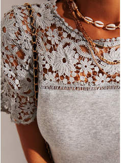 Lace Solid Round Neck Short Sleeves Casual Blouses