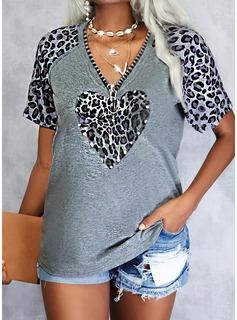 Leopardo Corazón Cuello en V Manga Corta Casual Blusas