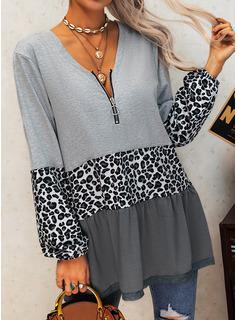 leopardo Blocchi di colore Scollatura a V Maniche lunghe Casuale Camicie