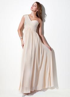 A-formet/Prinsesse En Skuldret/Asymmetrisk Gulvlengde Chiffong Høytidskjole med Frynse Blonder Perlebesydd