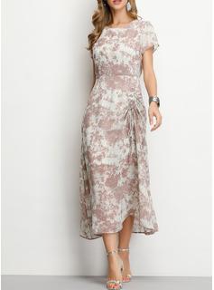 Poliester Z Wydrukować Midi Sukienka