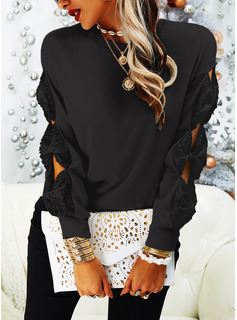 Round Neck Casual Sequins Solid Sweaters