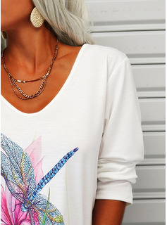 Estampado de animales Floral Cuello en V Manga Larga Casual camiseta