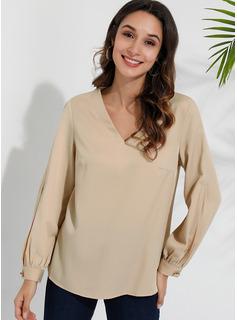 Einfarbig Lange Ärmel Polyester V-Ausschnitt Blusen