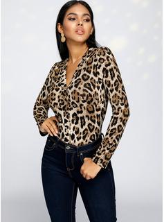 Leopardo Manga larga Algodón poliéster Escote en V Blusas