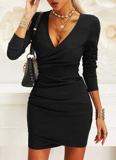 Solid Conică Mâneci Lungi Mini Negre Zarif Moda Elbiseler