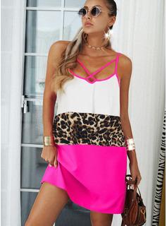 Leopardo Trozos de color Vestidos sueltos Sin mangas Midi Casual Tipo Vestidos de moda