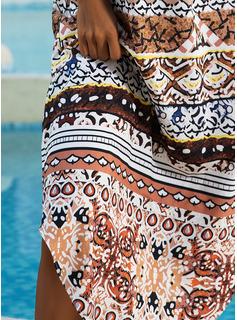 印刷 シフトドレス ノースリーブ マキシ 生きます カジュアル 休暇 ファッションドレス