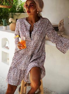 Leopard Etuikleider Schlagärmel Lange Ärmel Midi Lässige Kleidung Modekleider