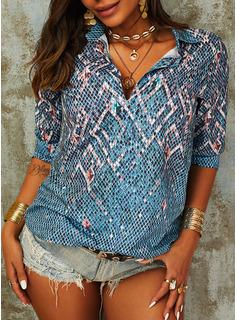 Geometrisk Lapel Lange ærmer Casual Shirt Skjorter