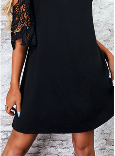 Solid Shift 1/2 Sleeves Mini Little Black Casual Dresses