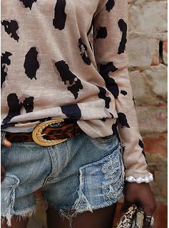 Leopard V-hals Lange ermer Avslappet T skjorte