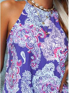 Impresión Vestidos sueltos Sin mangas Mini Boho Casual Vestidos de moda