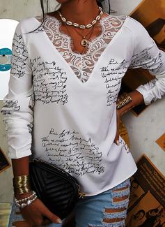 Figur Spitze Druck V-Ausschnitt Lange Ärmel Lässige Kleidung Blusen