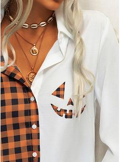 Print Pläd lapel Långa ärmar Halloween Knäpp upp Fritids Skjorta Blusar
