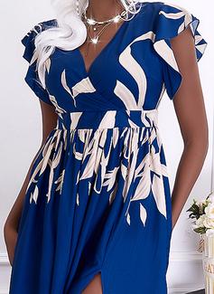 Impresión Vestido línea A Manga Corta Maxi Elegante Patinador Vestidos de moda