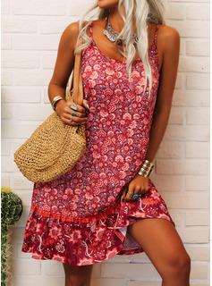 Floral Print Shift Sleeveless Mini Casual Type Dresses