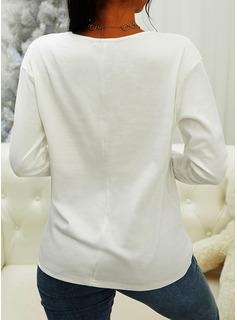 Blonder Solid V-hals Lange ærmer Casual Skjorter